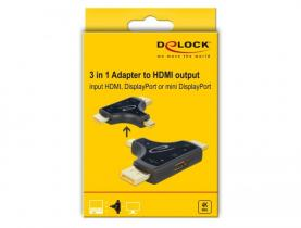 DeLock 3 in 1 Monitor Adapter with HDMI / DisplayPort / mini DisplayPort in to HDMI out with 4K 60 Hz
